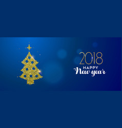 happy new year 2018 gold glitter pine tree card vector image vector image