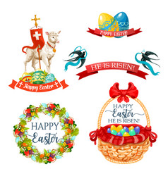 icons and paschal symbols for easter design vector image vector image