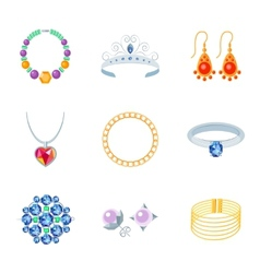 Jewelry icons flat vector