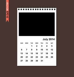 July 2014 calendar vector image vector image