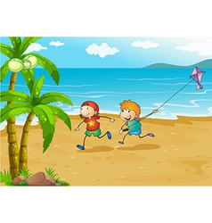 Kids playing at the beach with their kite vector image