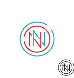 Logo N letter mockup monogram round border two nn vector image vector image