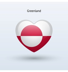 Love greenland symbol heart flag icon vector