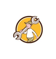 Mechanic monkey wrench walking circle cartoon vector