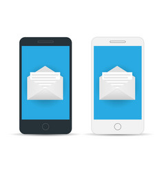 mobile screen with new mail vector image vector image