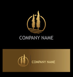 Pine tree gold logo vector