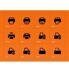 Printer icons on orange background vector