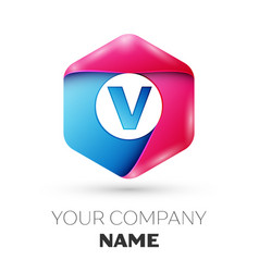 Realistic letter v in colorful hexagonal vector