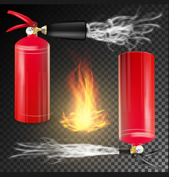 Red fire extinguisher fire flame sign and vector
