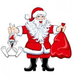 Santa and rabbit vector image vector image