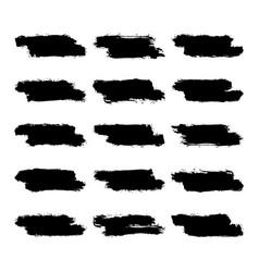 Set black brushstroke paint vector