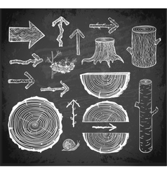 Skethces of wood cuts logs stump and arrows vector image vector image