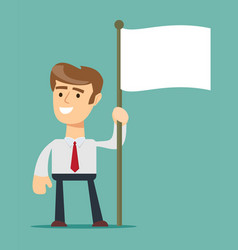 Smiling businessman holding flagpole with flag vector