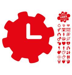 Time settings icon with valentine bonus vector