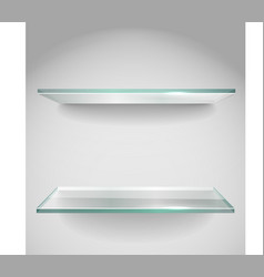 Two Empty advertising glass shelves with spot lign vector image vector image
