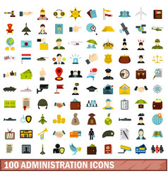 100 administration icons set flat style vector