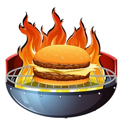 Cheeseburger on hot grill vector