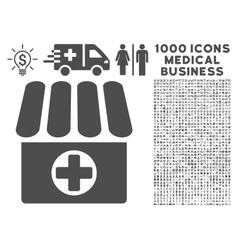 Drugstore icon with 1000 medical business symbols vector