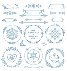 Christmasnew year decor setwinter wreath frames vector