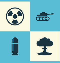 army icons set collection of panzer atom vector image