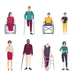 Different disabled people cartoon flat vector