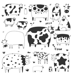 Set of funny cows vector