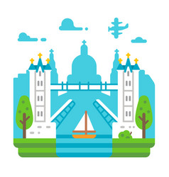 Flat design tower bridge london vector