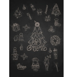 Hand drawn christmas set vector