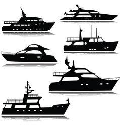 Yachts silhouette vector image