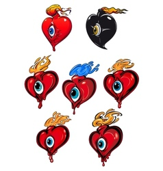 Cartoon hearts with eye and fire flames vector