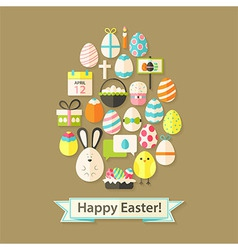 Easter holiday greeting card with flat icons egg vector
