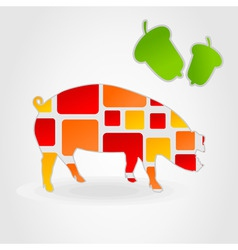 pig on a grey background and green acorns a vector vector image