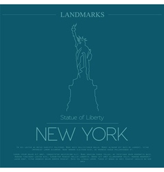 World landmarks new york usa statue of liberty vector