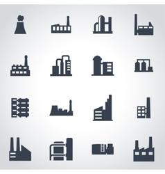 black factory icon set vector image vector image