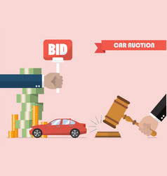 Buying selling car from auction vector