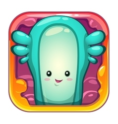Cartoon app icon with funny slimy alien character vector image