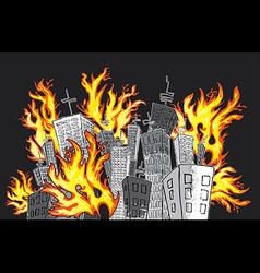 cartoon houses in flames vector image