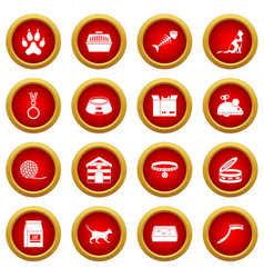 Cat care tools icon red circle set vector