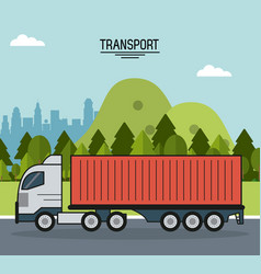 colorful poster of transport with cargo truck on vector image