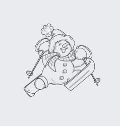Cute smiling snowman in ski happily jumping up to vector