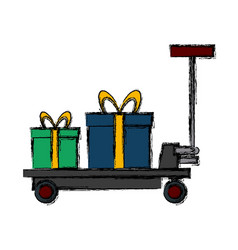 delivery cart gift boxes logistic transport icon vector image