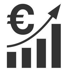 Euro bar chart trend flat icon vector