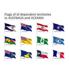 Flags dependent territories australia and oceania vector