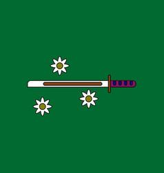 Flat icon design collection sword and shuriken vector