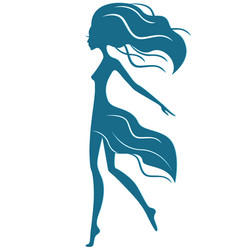 Graceful girl with waving hair in motion vector