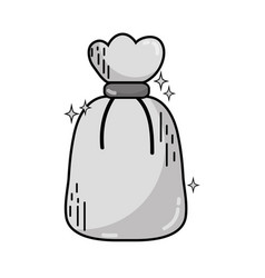 Grayscale garbage bag object with biodegradable vector