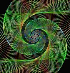 Green wired fractal spiral design background vector