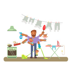 homemaker is cleaning vector image vector image