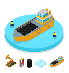 Isometric gas and oil industry ship with barrels vector