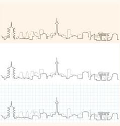 Kyoto hand drawn skyline vector